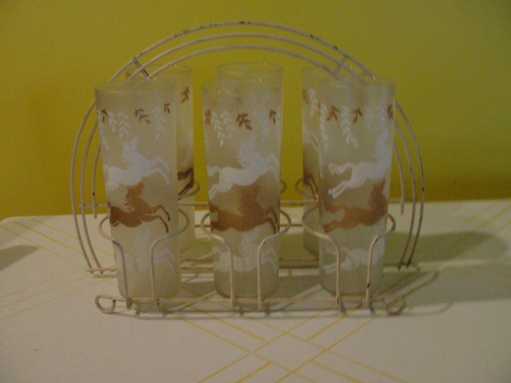 LIbbey Cavalcade Frosted Glasses with Horses in White Metal Caddy/carrier - b44