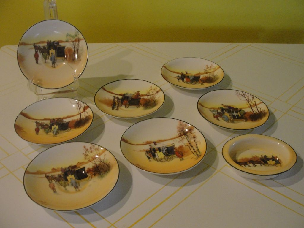 "Royal Doulton ""Coaching Days"" Saucers and Bowl - b38"