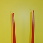Red Prism Brass and Marble Candle Holders - b45