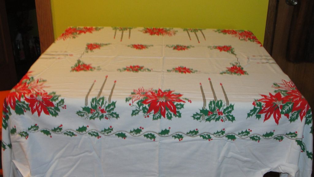 Gold Candles, Red Poinsettias and Holly Tablecloth - b47
