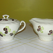 Blue Ridge Southern Potteries Co ''Spray'' Creamer and Covered Sugar Bowl