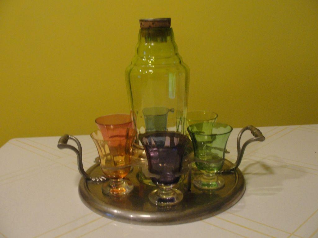Shaken Not Stirred Czech Glass Cocktail Shaker and Glasses on Farberware Tray