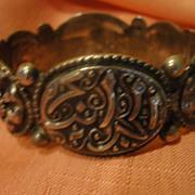 Oval Segment Bead Design Hinged Sterling Bangle Bracelet - Free shipping