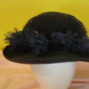 J McConnell Wide Rim Navy Hat with Flower Brim