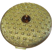 Quilted Tufted Revlon Compact with Amber Color Stone - b63