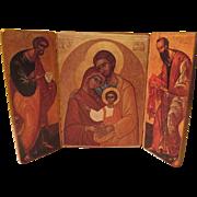 Liberia Ecumenica Triptych Holy Family Icon on Wood - b56