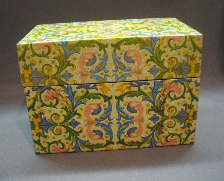 Yellow Floral Decorated Recipe Box Tin