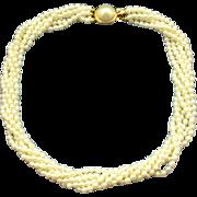 SALE Freshwater Pearl 6 Strand Torsade Necklace Choker