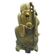 19th Century Chinese Soapstone Carved Man Shao Xing Lao Incense Burner
