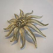 BSK Silver Tone Stylized Chrysanthemum Pin
