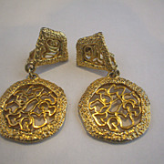 Gold Tone Filigree Drop Round Clip Earrings