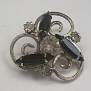 Black Clear Rhinestone Pin Silver Tone Swirls