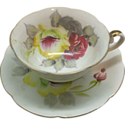 REDUCED Hand Painted Japan Roses Cup Saucer Pink Yellow Grey