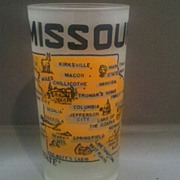 REDUCED Missouri Frosted Glass State Souvenir Tumbler Hazel Atlas