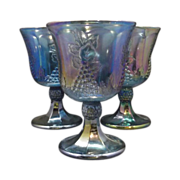 REDUCED Indiana Harvest Blue Carnival Goblets Set of Three
