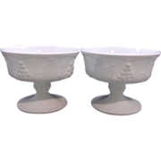 REDUCED Indiana Milk Glass Harvest Grape Sherbets Set of Three