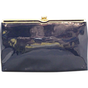 REDUCED Ande Navy Blue Patent Vinyl Clutch Purse