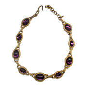 Monet Purple Oval Cab Gold Tone Link Necklace 1980s Chunky