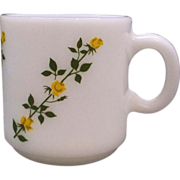 Hazel Atlas Yellow Roses Climbing Milk Glass Mug