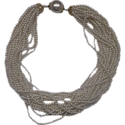 Faux Pearl Torsade Necklace Choker 15 Strand