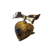 Gold Tone Heart Dangle Pin Large Blue Rhinestone