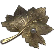 Sarah Coventry Leaf Pin Faux Pearl Gold Tone