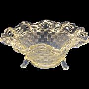 Fenton Clear Basketweave Open Edge Bowl #1092