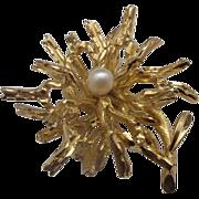 Grosse 1966 Germany Gold Tone Faux Pearl Pin Flower