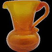 Amberina Crackle Glass Small Pitcher