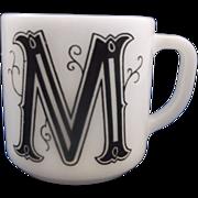 M Initial Monogram Milk Glass Mug Federal