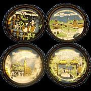 Disney World Houze Bent Glass Coasters Ashtrays Set of 4