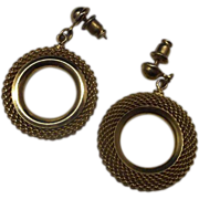 Gold Mesh Drop Hoop Circle Earrings