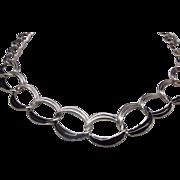 Trifari Black Enamel Silver Tone Chain Necklace