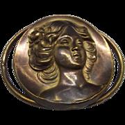 Art Nouveau Repousse Slide Buckle Woman Head