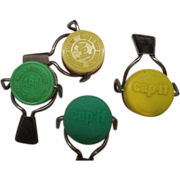 Cap-It Bottle Caps Neon Green Yellow Made in West Germany