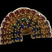 Rainbow Rhinestone Small Pin Gold Tone