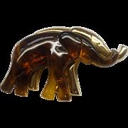 Liz Claiborne Elephants Pair Duo Pin Amber Lucite Gold Tone