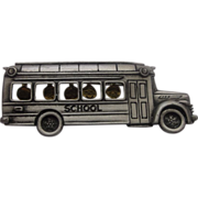 JJ Jonette Jewelry School Bus Pin Pewter Tone