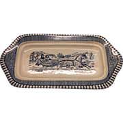 Currier & Ives Blue Butter Dish No Lid Royal China
