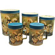 Winter Snow Goose Geese Ducks Metal Tin Lithographed Canister Set Salt Pepper Shakers