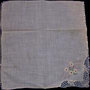 Flowers Embroidered Ladies' Handkerchiefs Lace Edge Corner, Appliqued Flower