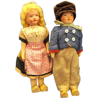 Dutch Boy Girl Composition Dolls Original Clothes Wooden Shoes