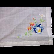 Blue Flower Embroidered Ladies' Handkerchief White Cotton Swiss Style