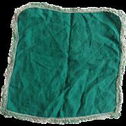 SALE PENDING Green Cotton Handkerchief Tatted Lade Edge Hem