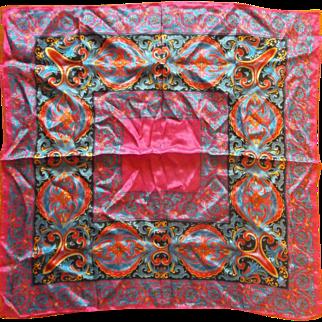 Vivid Fuchsia Black Royal Blue Red Paisley Print Silk Scarf
