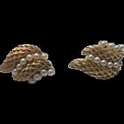 Crown Trifari Gold Tone Faux Pearl Leaf Clip Earrings