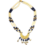 Etruscan Revival Blue White Gold Tone Necklace Beads Filigree