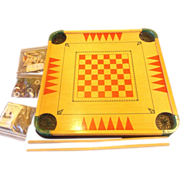 Merdel Carom Board #100 Game Set All Pieces 1960s