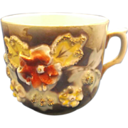 Porcelain Luster Large Cup Mug Applied Raised Flowers Hand Painted Germany