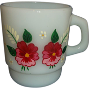 Fire-King Milk Glass Hand Painted Pink Flowers Stacking Mug